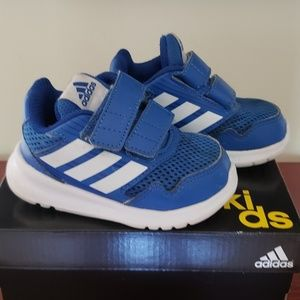 Blue adidas toddler running shoes